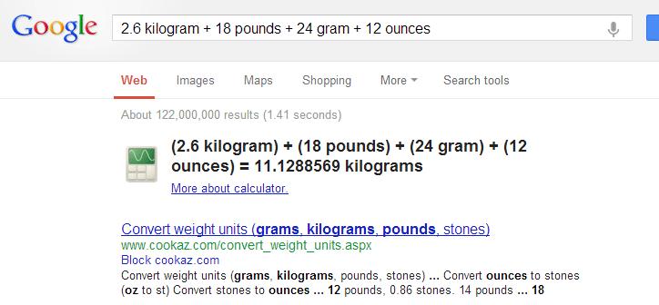 Google ile ağırlık birimlerini dönüştürmek