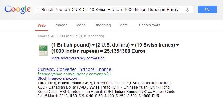Google ile para birimlerini dönüştürmek